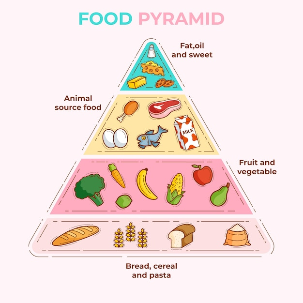Pyramiden für wichtige lebensmittel für die richtige ernährung Kostenlosen Vektoren