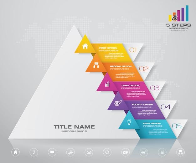 Pyramiden-präsentationskarte mit 5 schritten eps10. Premium Vektoren