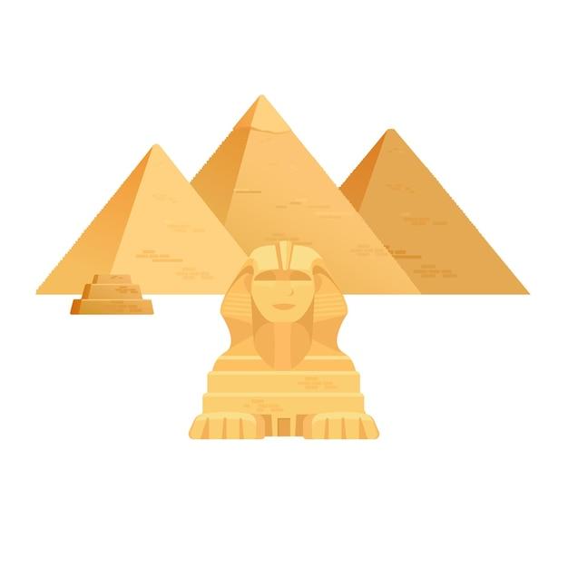 Pyramiden von gizeh. ägypten alte reisearchitektur anblick. Premium Vektoren