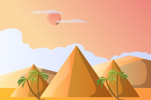 Pyramidenillustrationslandschaft für eine touristenattraktion Premium Vektoren