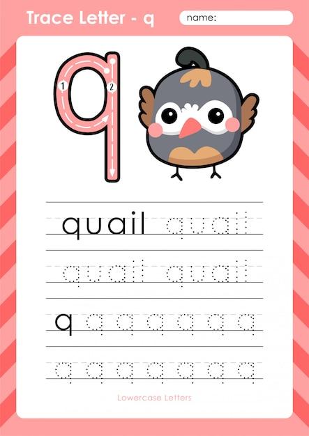 q wachtel alphabet az arbeitsblatt zum nachzeichnen von