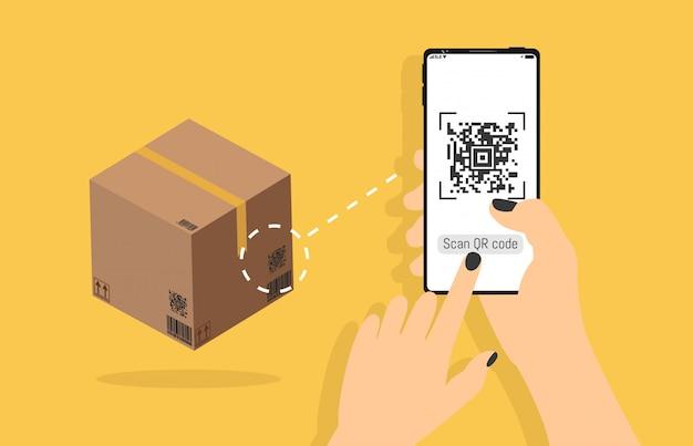 Qr-code bezogene vektor-linie ikonen, die in der hand lieferungskasten auf smartphone, bewegliche realistische art, identifikationsprodukt im shop, scandaten mit der anwendung scannen. Premium Vektoren