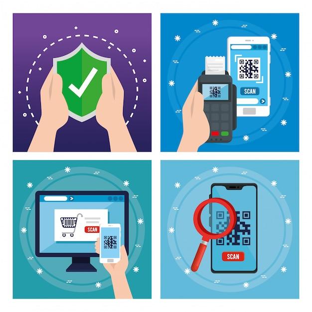 Qr-code im datentelefon des smartphone-computers und im schildvektorentwurf Kostenlosen Vektoren