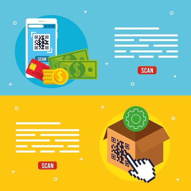 Qr-code im smartphone- und box-vektor-design Kostenlosen Vektoren