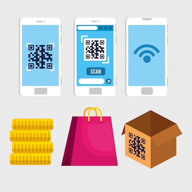 Qr-code in smartphones münzen tasche und box vektor-design Kostenlosen Vektoren