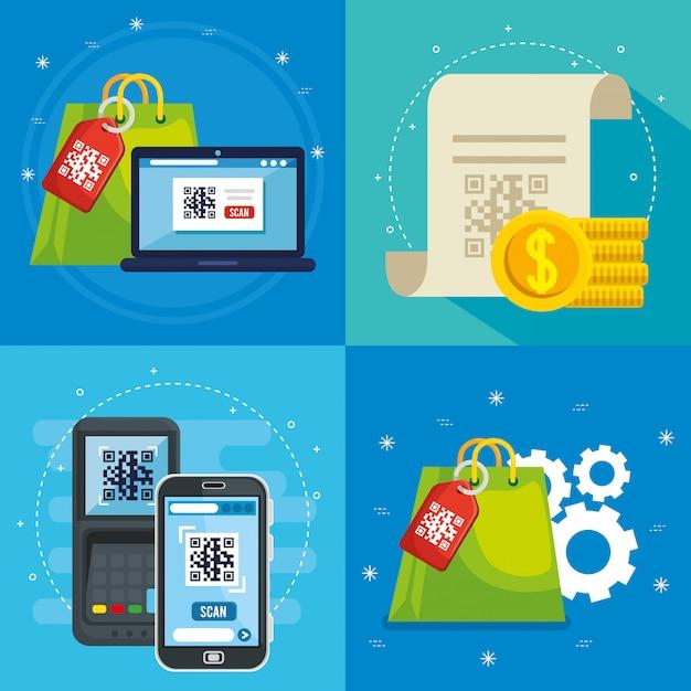 Qr-code innerhalb des smartphone-dataphon-laptop-belegs und des taschenvektordesigns Kostenlosen Vektoren
