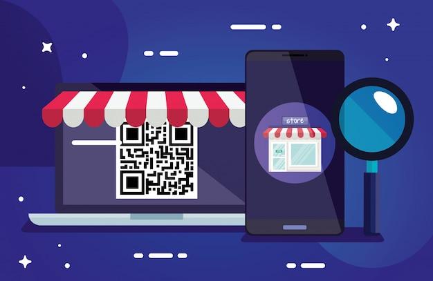Qr-code laptop smartphone und lupe design der technologie scan informationen geschäftspreis kommunikation barcode digital- und datenthema vektor-illustration Premium Vektoren