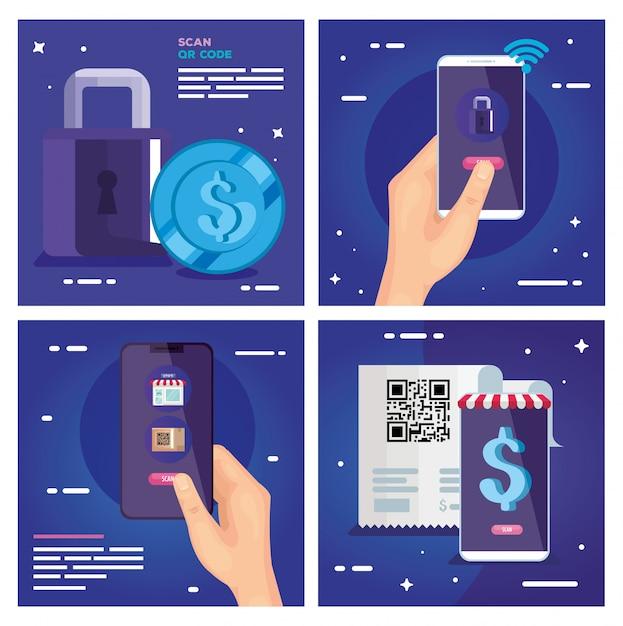 Qr-code-papier smartphones vorhängeschloss und münzvektor design Premium Vektoren
