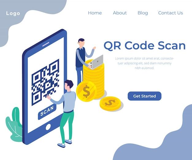Qr-code-scan-konzeptillustrations-vektordesign Premium Vektoren