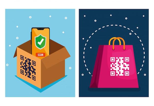 Qr-code über einkaufstaschenbox und smartphone-vektordesign Kostenlosen Vektoren