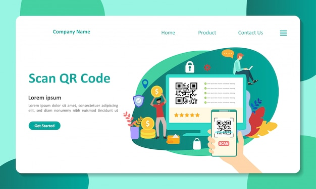 Qr-code-zielseite Premium Vektoren
