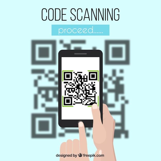 Qr und mobilem code unscharfen hintergrund Kostenlosen Vektoren
