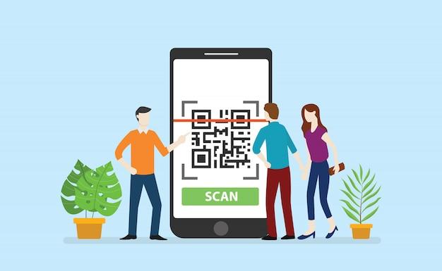 Qrcode-technologie-scan mit mitarbeitern des office-teams umkreisen große smartphone-apps Premium Vektoren