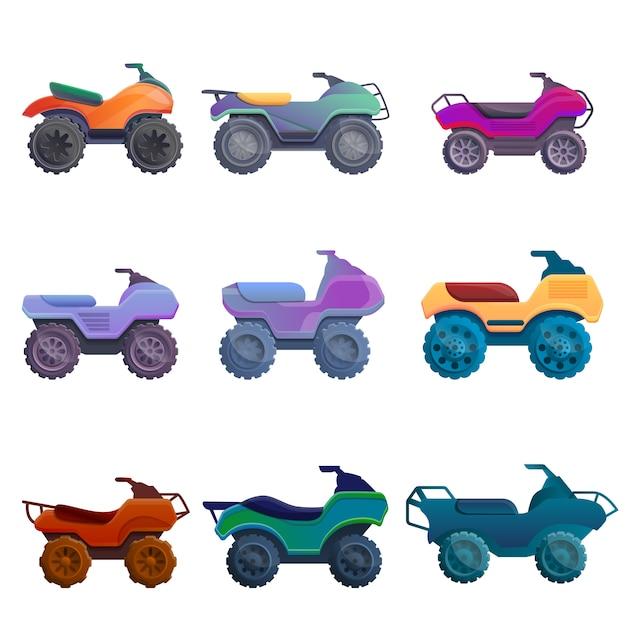 Quad-fahrrad-set, cartoon-stil Premium Vektoren