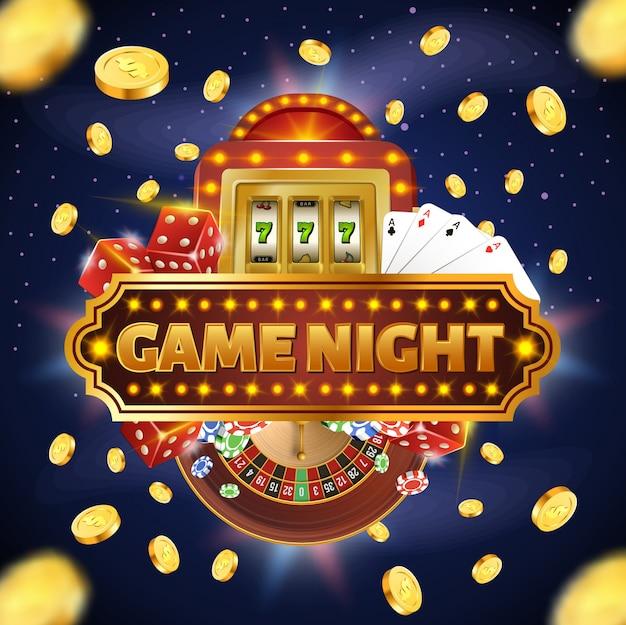 Quadratische darstellung mit game night typografie vier asse Premium Vektoren