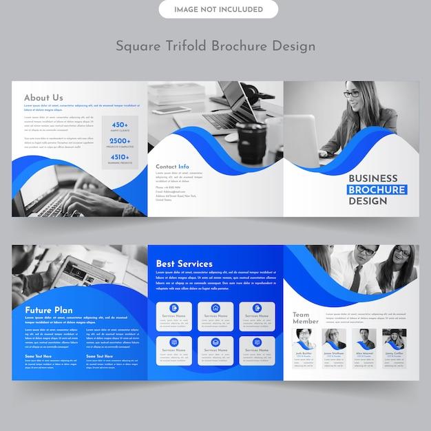 Quadratische dreifach gefaltete broschüre Premium Vektoren