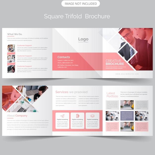 Quadratische dreifachgefaltete broschürenvorlage Premium Vektoren