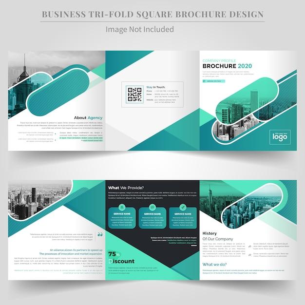 Quadratische dreifachgefaltete geschäftsbroschüren-design-schablone Premium Vektoren