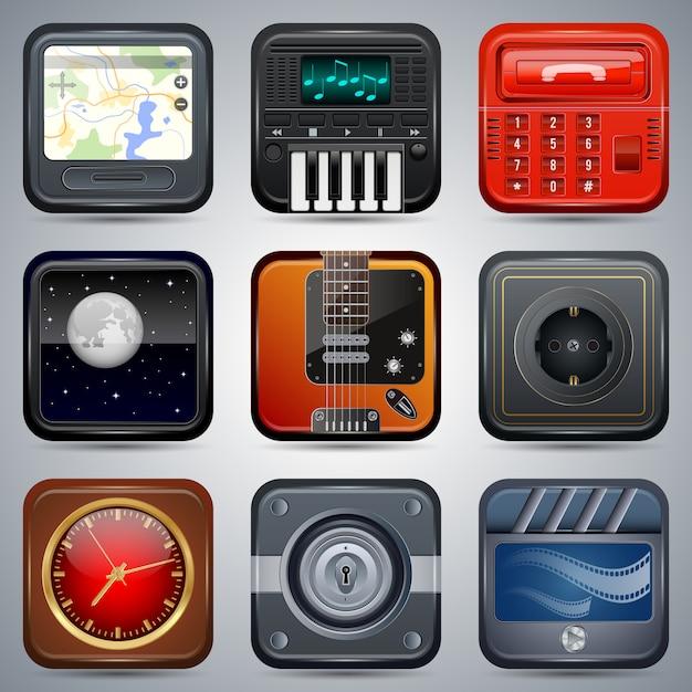 Quadratische elektronische ikonen, schnittstellenelementsatz Premium Vektoren