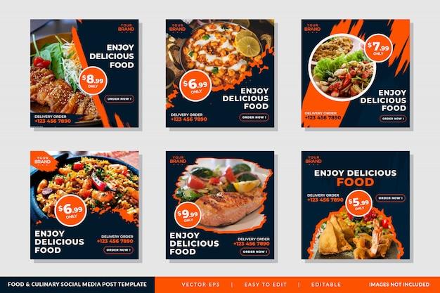 Quadratische fahnenschablone oder -flieger mit lebensmittel und kulinarischem thema für restaurants Premium Vektoren