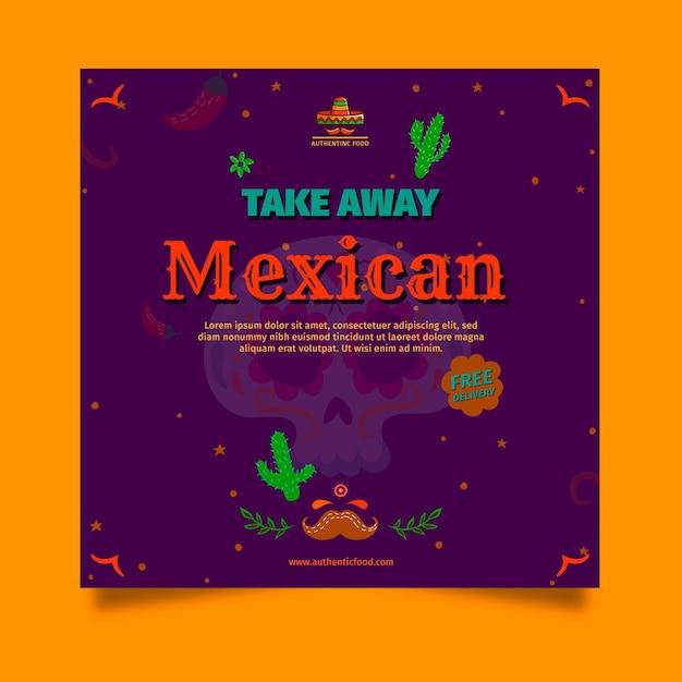 Quadratische flyer-vorlage des mexikanischen essensrestaurants Premium Vektoren