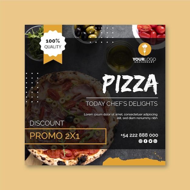 Quadratische flyer-vorlage für pizzarestaurant Premium Vektoren
