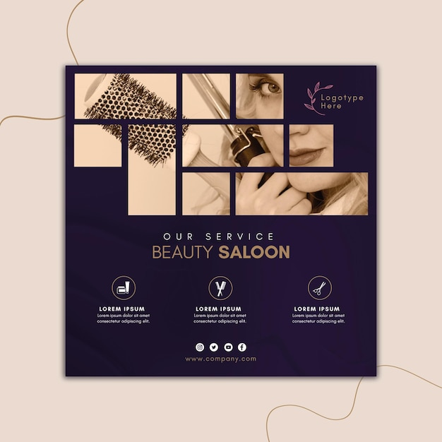 Quadratische flyer-vorlage für schönheitssalon Premium Vektoren
