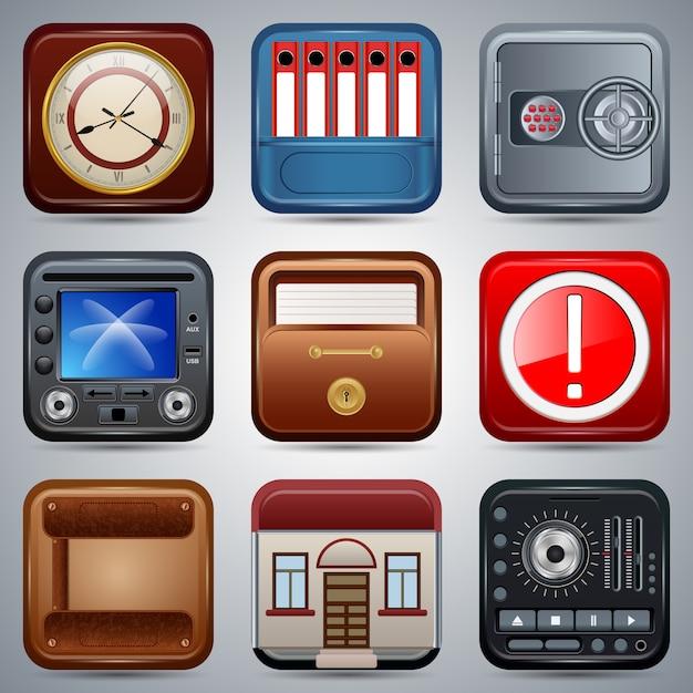 Quadratische ikonenvektorsammlung der anwendung Premium Vektoren