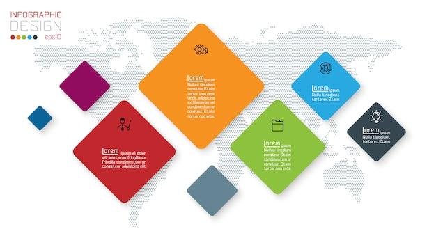 Quadratische infografiken auf abstraktem hintergrund Premium Vektoren