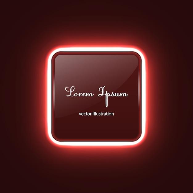 Quadratische neonfahne mit glühenlichteffekt Premium Vektoren