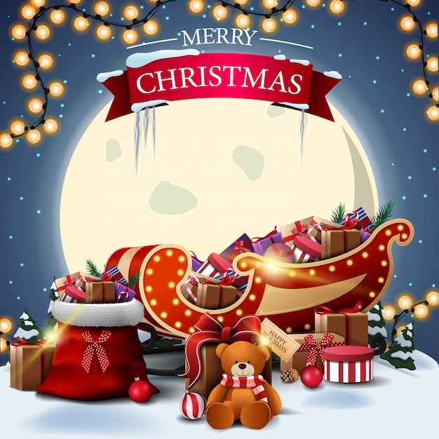 Quadratische postkarte der frohen weihnachten mit winterlandschaft Premium Vektoren