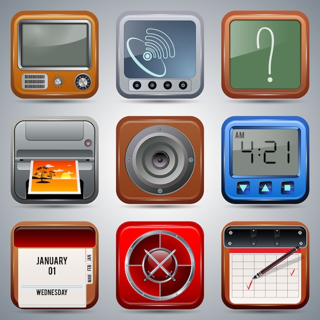 Quadratische realistische ikonenvektorsammlung der anwendung Premium Vektoren