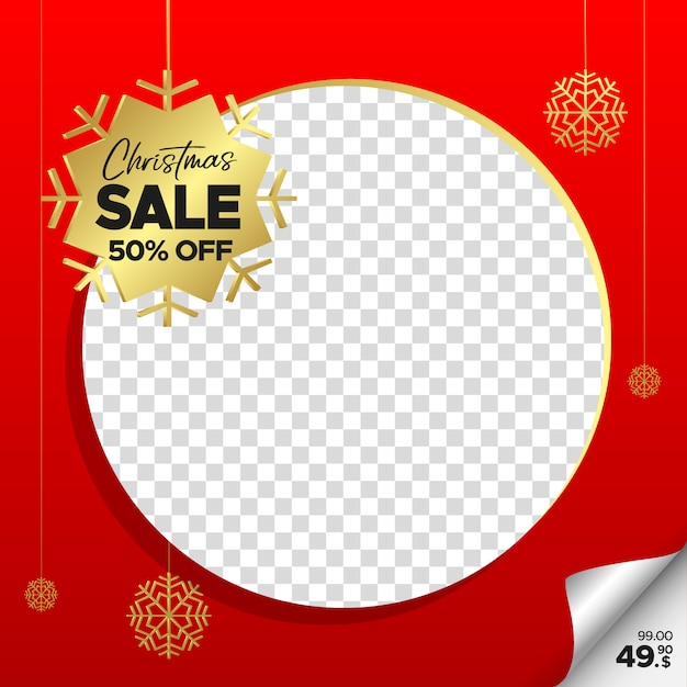 Quadratische rote weihnachtsverkaufsfahne für netz, instagram und social media mit leerem rahmen Premium Vektoren