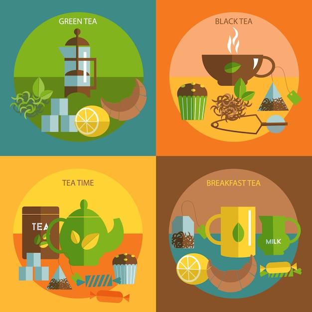 Quadratische zusammensetzung der flachen ikonen der teezeit Kostenlosen Vektoren