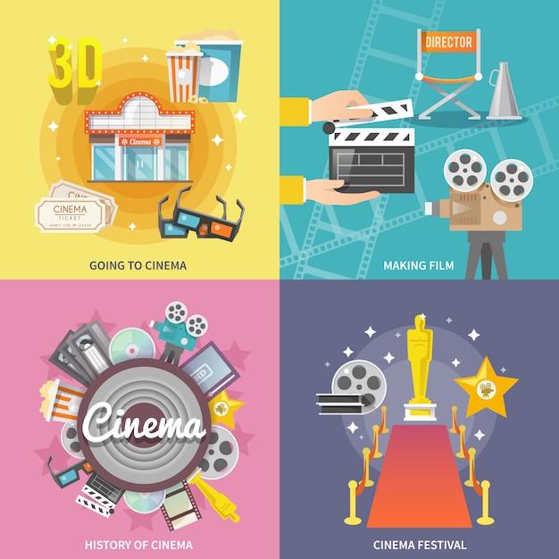 Quadratische zusammensetzung der flachen ikonen des kinos 4 Kostenlosen Vektoren