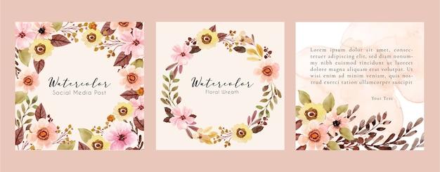 Quadratischer aquarellrahmen mit rosa blumen- und braunen blättern für social media post Premium Vektoren
