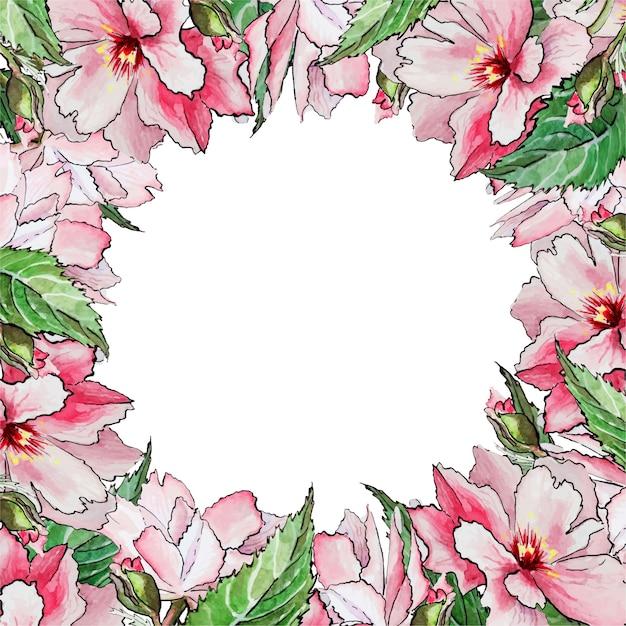 Quadratischer aquarellrahmen mit sakura-blumen Premium Vektoren