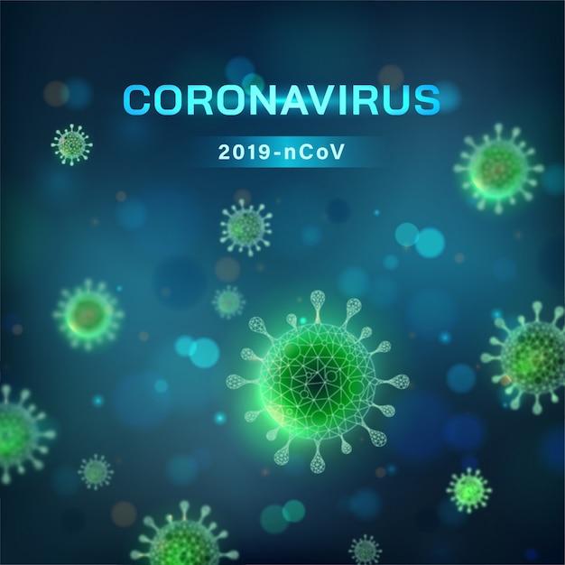 Quadratischer coronavirus-hintergrund. viruszelle in mikroskopischer ansicht Kostenlosen Vektoren