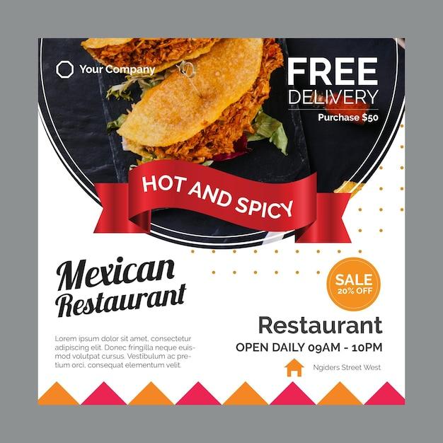 Quadratischer flyer für mexikanisches restaurant Premium Vektoren