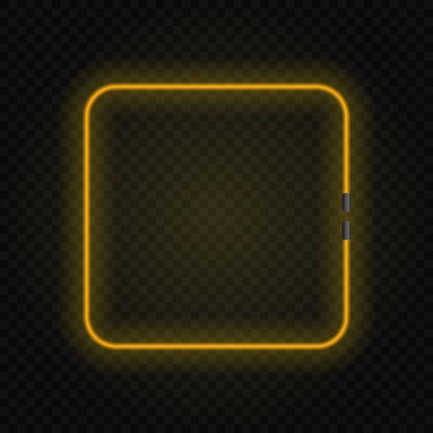 Quadratischer glühender lampenneonrahmen auf transparentem hintergrund. Premium Vektoren