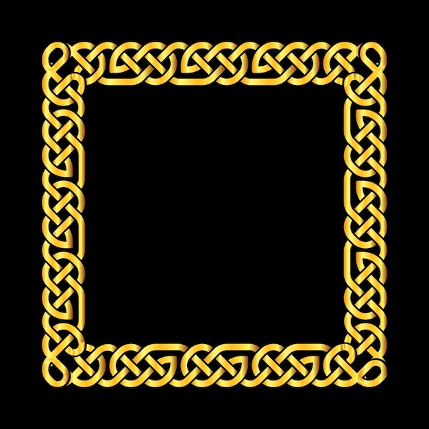 Quadratischer goldener keltischer knotenvektorrahmen Premium Vektoren