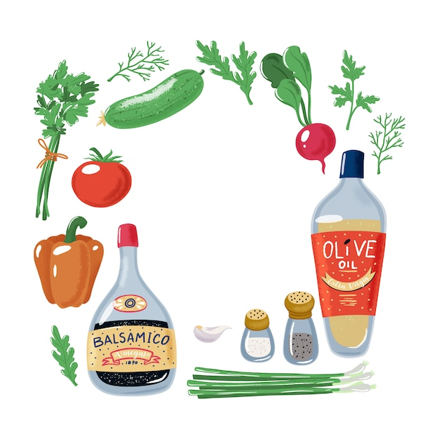 Quadratischer rahmen aus salatgemüse, olivenöl, balsamico-essig, salz und pfeffer Premium Vektoren