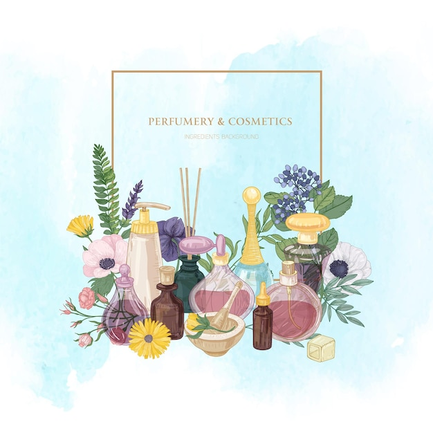 Quadratischer rahmen mit parfüm in glasflaschen in verschiedenen formen und größen und eleganten blütenpflanzen Premium Vektoren