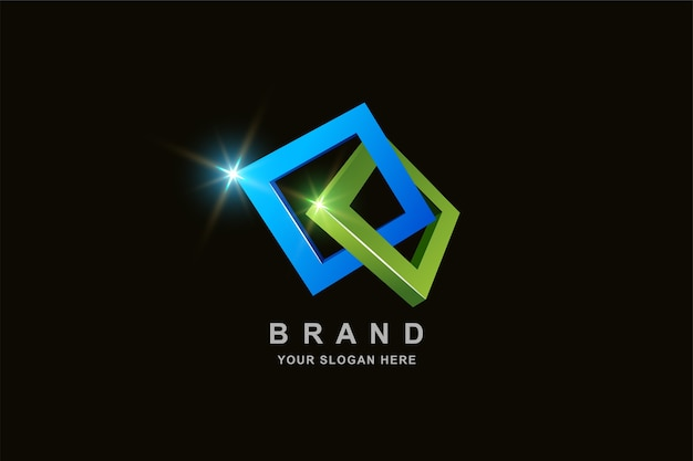 Quadratisches logo-design des 3d-rahmens Premium Vektoren