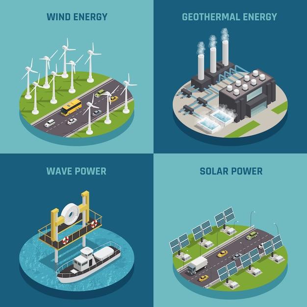 Quadratisches plakat der ökologischen auswechselbaren grünen energiequellen 4 isometrische ikonen mit dem wind solar und leistung lokalisiert Kostenlosen Vektoren