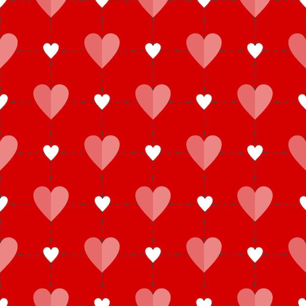 Quadratisches Schnittmuster von roten Herzen über rotem Hintergrund ...