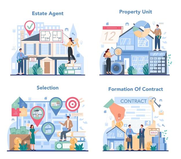 Qualifiziertes immobilienmakler- oder makler-konzeptset Premium Vektoren