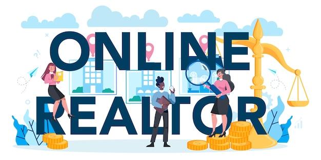 Qualifiziertes typografisches header-konzept für online-immobilienmakler oder makler Premium Vektoren