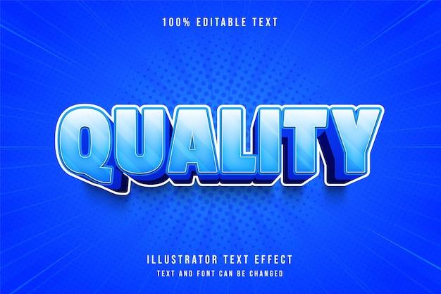Qualität, 3d bearbeitbarer texteffekt blaue abstufung comic schatten textstil Premium Vektoren
