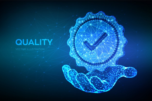 Qualität. niedrige polygonale qualitätsikonenüberprüfung in der hand. Premium Vektoren